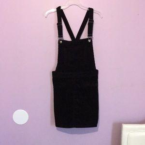 Black corduroy overall dress